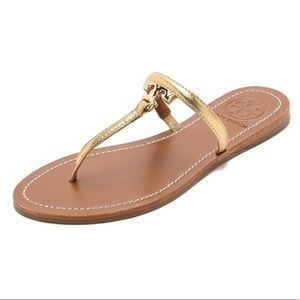 Tory Burch T Logo Gold Leather Thong Sandals